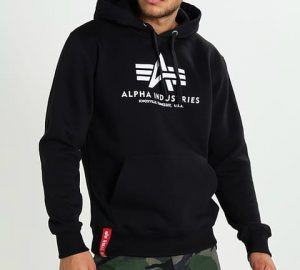 Alpha Industries BASIC HOODY – Hoodie – black mens clothing GD12409